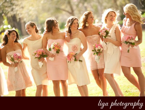 pale pink (and looks like off white but may just be a lighter shade of pink) for bridesmaids dresses.  Amanda Eisele's wedding.