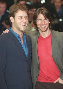 """Russell Crowe andTom Cruisearrive for the premiere of Cruise's latest film, """"Mission: Impossible 2"""" at The Empire, Leicester Square, London, June 4, 2000."""