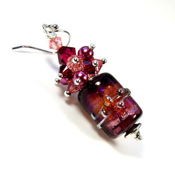 26,40 € - Boucles Oreilles 'Champs magnétiques' en verre filé à la flamme et cristal Swarovski - Boutique Eclats-de-verre sur le site A-little-market