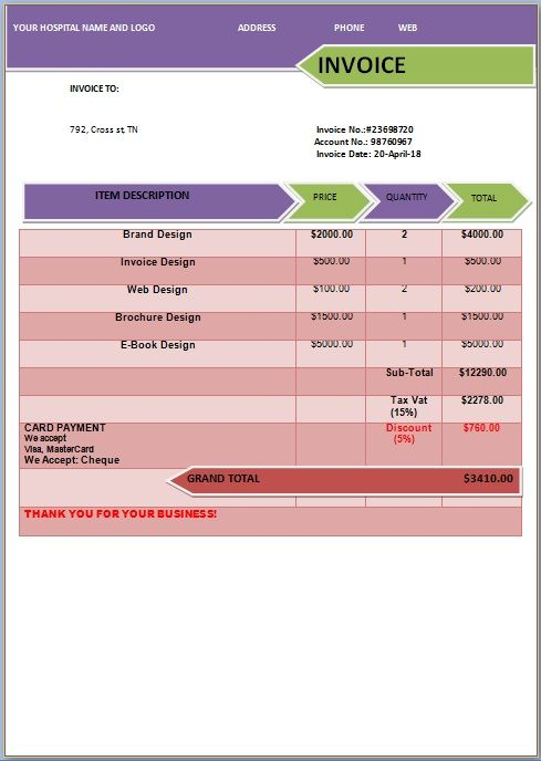 Medical Expense Invoice Templates  Medical Invoice Template