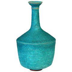 Early Polia Pillin Studio Vase with Turquoise Volcanic Lava Glaze