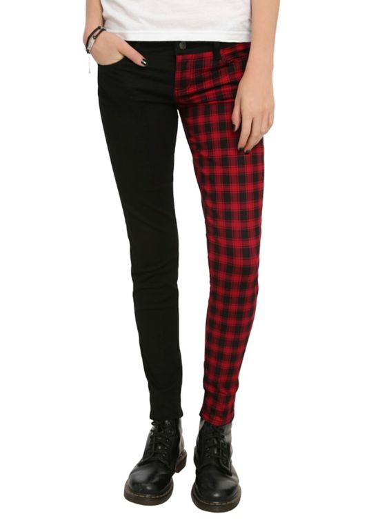 Split leg skinny jeans with a black & red buffalo check pattern ...