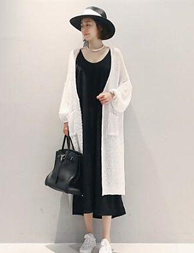 Long Cardigan Femme Sortie simple,Couleur Pleine Blanc Asymétrique Manches…