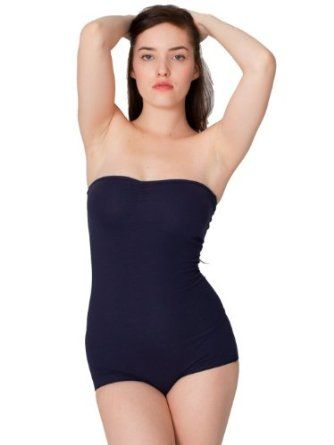 American Apparel Cotton Spandex Jersey Strapless Ruched Bodysuit Small-Navy American Apparel. $5.00