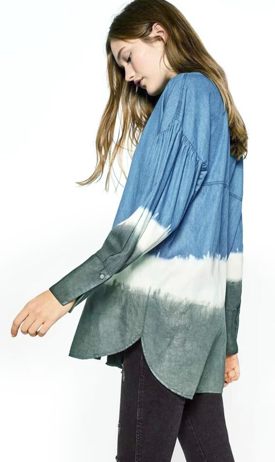 Try this denim shirt on. Gradient Ramp can always bring people good emotions. Find it at OASAP.com