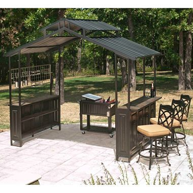 Roof over grilling area gazebo grill gazebos garden for Outdoor kitchen roof structures