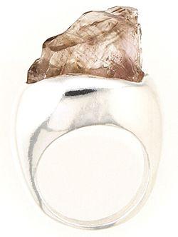 Raw smokey quartz ring.