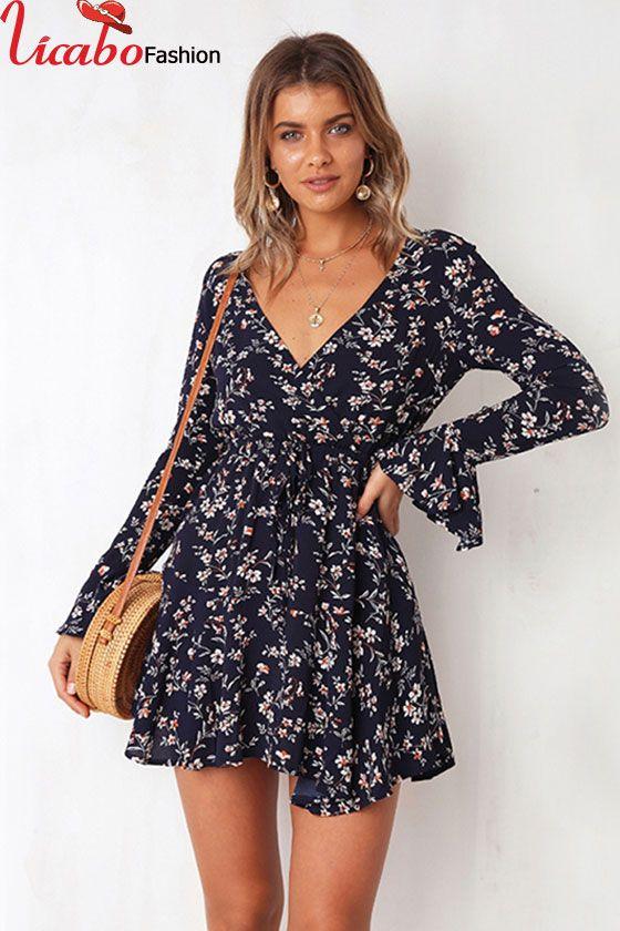 UK Women Wrap Summer Boho Floral Chiffon Short Mini Dress Ladies Holiday Beach