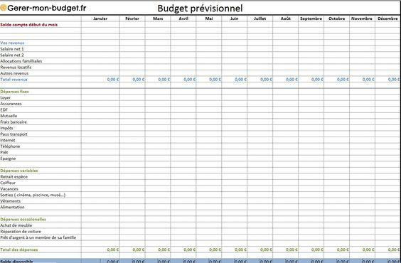 Assez Exemples de tableaux pour gérer son budget - Famille  MD63