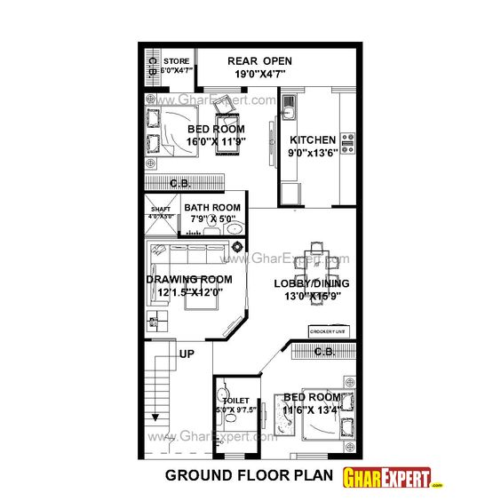 House Plan for 27 Feet by 50 Feet plot (Plot Size 150 Square Yards) - GharExpert.com