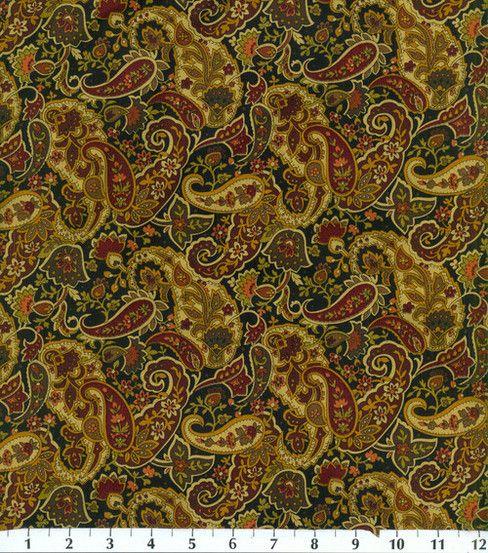 Keepsake Calico Fabric-Paisley-Black/BurgundyKeepsake Calico Fabric-Paisley-Black/Burgundy,