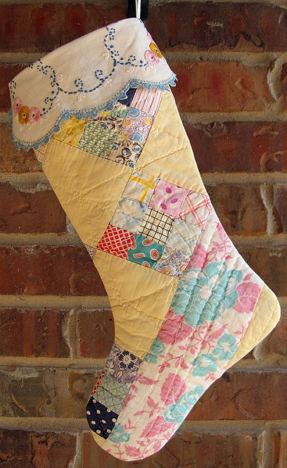 Vintage Cutter Quilt Christmas Stocking Pastel by RedDirtThreads, $24.99: