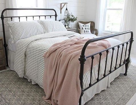 American Farmhouse Style On Instagram Have You Put Away Your Pink Accents Yet We Love The Pink That Appeared Throughout February And M With Images Black Bed Frame Home