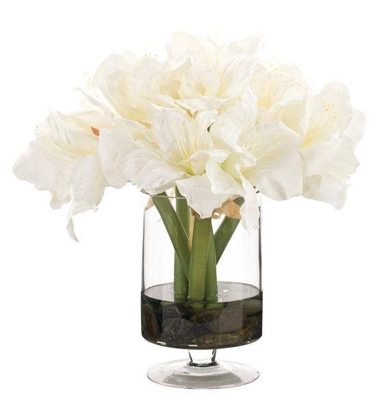 Natural Decorations, Inc. - Amaryllis | Glass Pedestal Cylinder | Cream White: