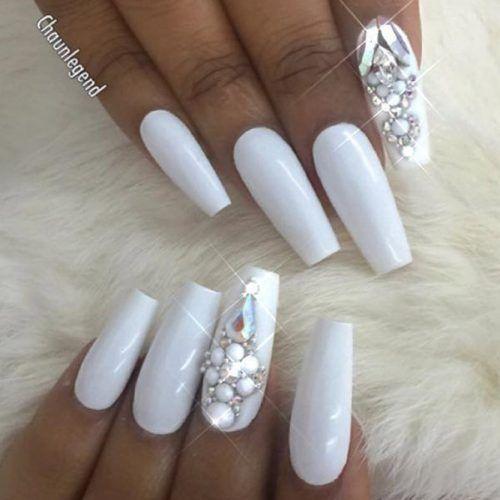 The Most Stylish Ideas For White Coffin Nails Design Coffin Nails Designs Best Nail Art Designs White Diamond Nails