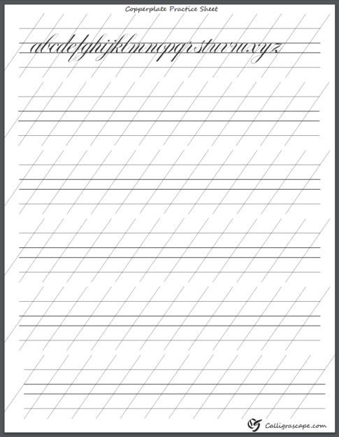 Italic Calligraphy Worksheets Printable