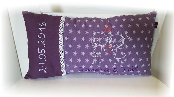 Weiteres - Kissen Hochzeit Namen Datum lila - ein Designerstück von Tante-Ninna bei DaWanda