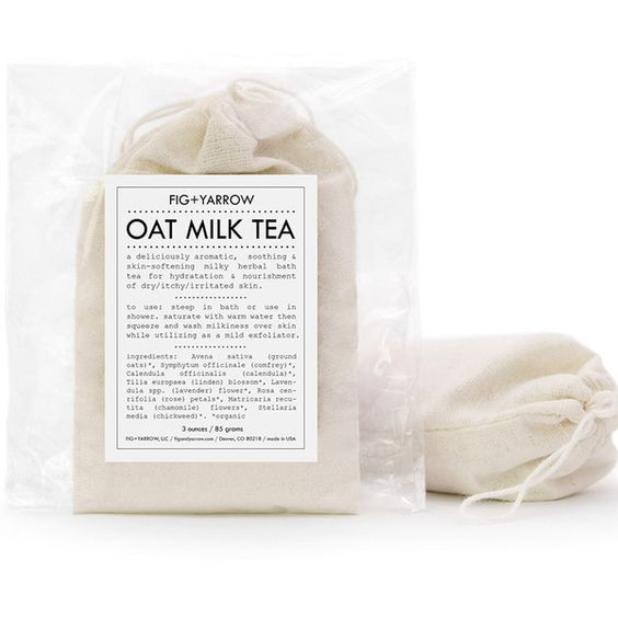 Oat Milk Bath Tea design by Fig and Yarrow ($14) ❤ liked on Polyvore featuring beauty products, bath & body products, body cleansers and soaps & gels