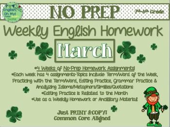 NO PREP Homework {March}:Idioms, Quotations, Words in Context, Editing