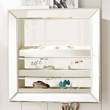 Pottery Barn Teen Mirrored Wall Jewelry Storage Square