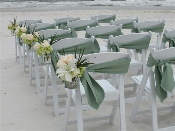 Chairs beach weddings and chair sashes on pinterest