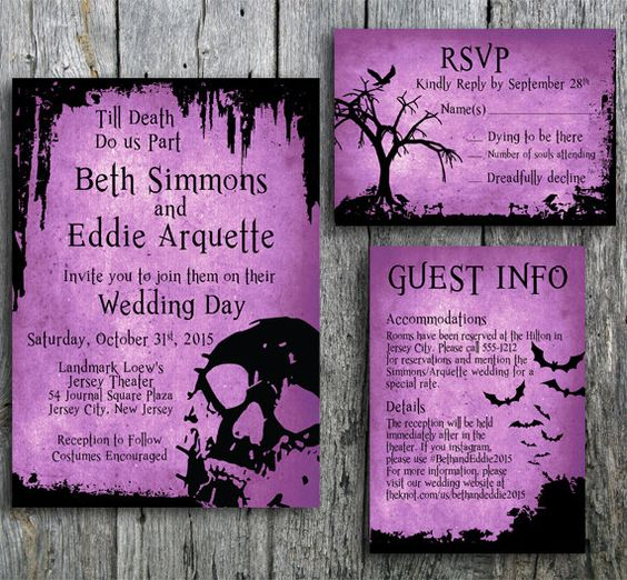 Halloween wedding invitation, RSVP, and guest information card with skull, bats, tree and crow on a purple background. Printable wedding invitation set is perfect for your Halloween wedding. Background color can be customized. By LangDesignShop via Zazzle