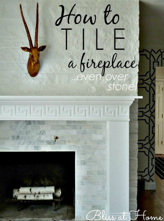 How to tile a fireplace even over stone or brick living - Tiling a brick fireplace ...