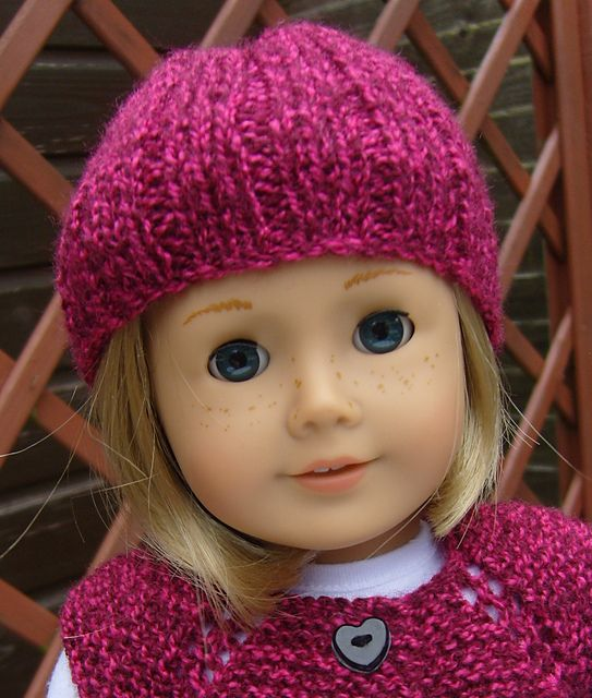 Free Knitting Patterns For American Dolls : AMERICAN GIRL DOLL PULL ON HAT free knitting pattern by Jacqueline Gibb Tri...