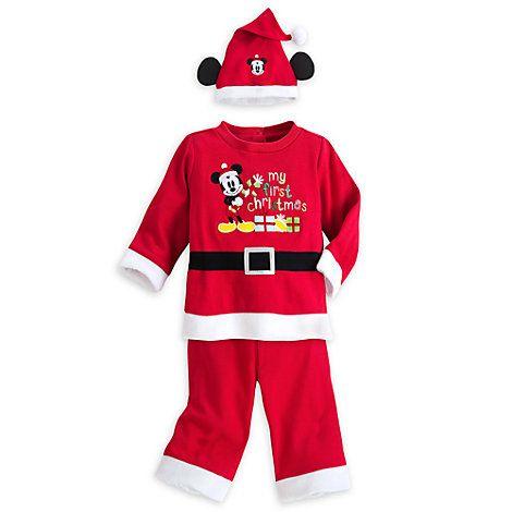"""Conjunto de jersey, pantalón y gorro Mickey Mouse """"Mis primeras Navidades"""" para bebé"""