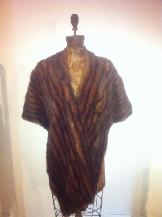 #Vintage genuine long ash brown mink stole. Fully let out skins w/ satin lining. $200.