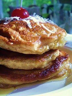 Vegan Pina Colada Pancakes with Vegan Coconut Cream-Maple Rum Syrup | The Blooming Platter of Vegan Recipes