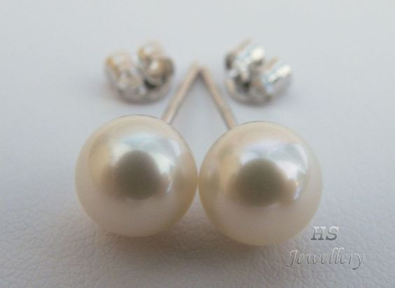HS #Akoya Cultured #Pearl 8mm #Stud #Earrings Top Grade 14KWG #NoReserve #Auction #Jewelry #Mothers #Bridal #Birthday