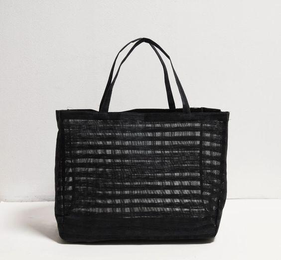 Sew a Shoulder Bag from an IKEA Curtain . Free Sewing Pattern . Ikea Hack . Tutorial . DIY . Black Minimalist Handbag