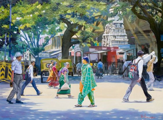India street scene 2, oil painting, figures painting, cityscape, Bangalore, India, policeman, people, by Dominique Amendola