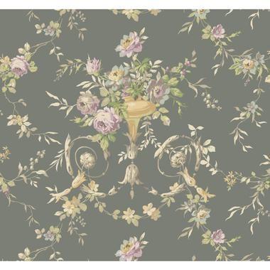 Botanical Fantasy AK7465Floral Urn Wallpaper