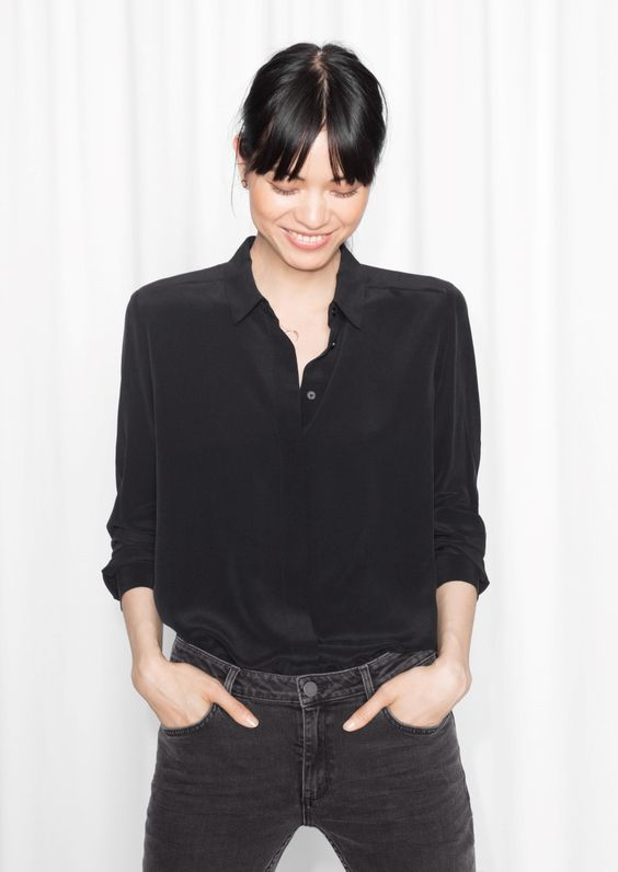 & Other Stories image 2 of Classic Silk Shirt in Black