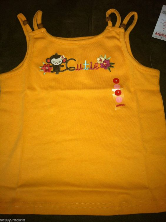 Gymboree Jungle Gem Monkey Tank Top New with Tags SZ 7 Orange Everyday Cotton #Gymboree #Everyday