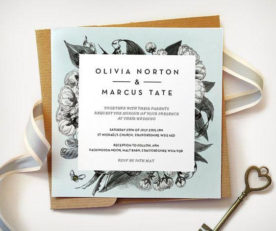Modern Vintage Floral Wedding Invitation / Square Cards for pocketful envelopes / by JuntosCreative