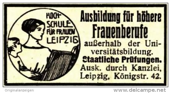 Original-Werbung/ Anzeige 1918 - HOCHSCHULE FÜR FRAUEN LEIPZIG - ca. 45 x 20 mm