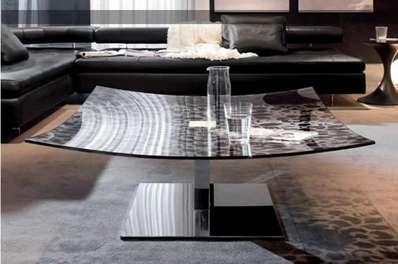 Table basse au plateau en verre et pied en m tal chrom - Pied table basse metal ...