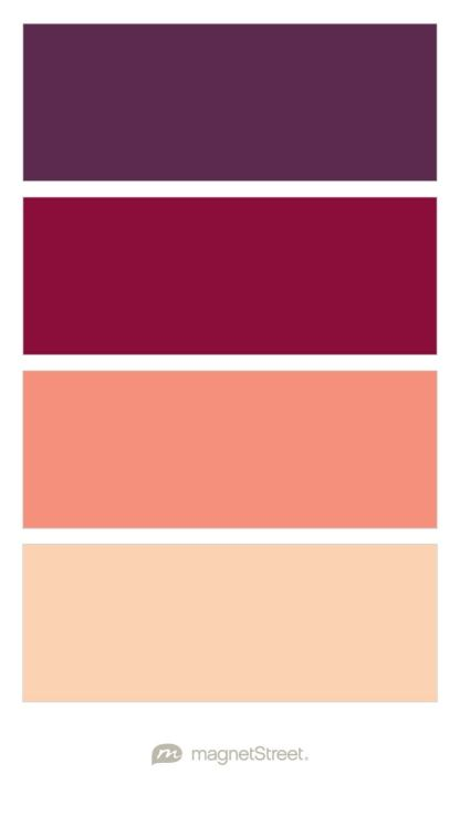color palette options—Eggplant, Burgundy, Coral, and Peach Wedding Color Palette - custom color palette created at MagnetStreet.com: