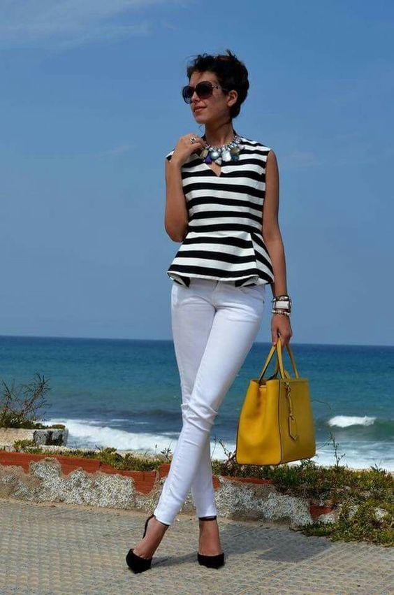 Perfect summer outfit with black and white striped top and white jeans