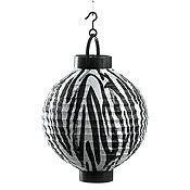 Zebra Print Lighted Tissue Lantern