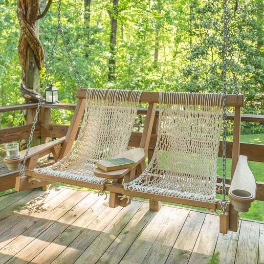Pawleys Island Coastal Rope Double Swing Porch Swing Best Outdoor Furniture Farmhouse Porch Swings