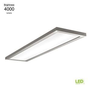 Hampton Bay 48 In X 12 In Low Profile Selectable Led Flush Mount Ceiling Flat Panel Brushed Nickel Rectangle 4000 Lumens Dimmable 54325111 Led Flush Mount Flush Mount Lighting Flush Mount Ceiling
