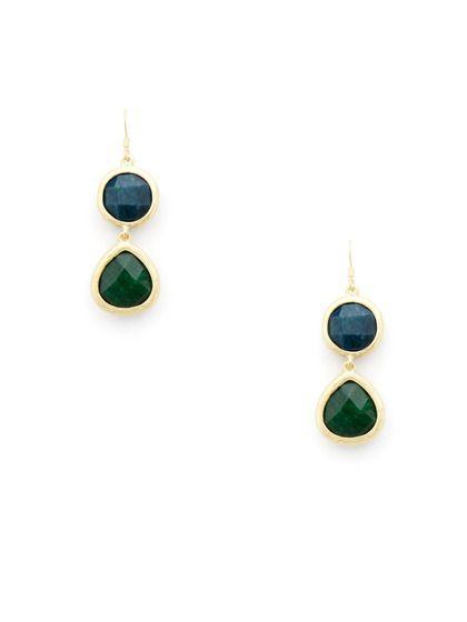 Semi-Precious Double Teardrop Earrings by Leslie Danzis on Gilt.com