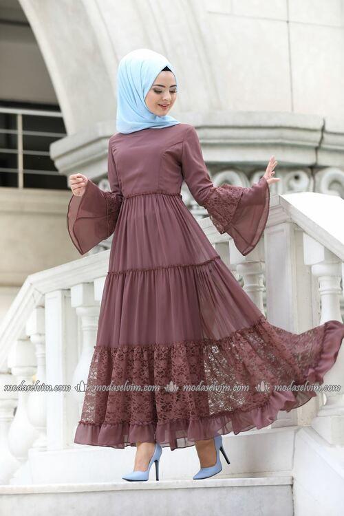 Modaselvim Elbise Dantel Detay Elbise 81674bn105 Gul Kurusu Model Baju Wanita Model Pakaian Hijab Pakaian Wanita