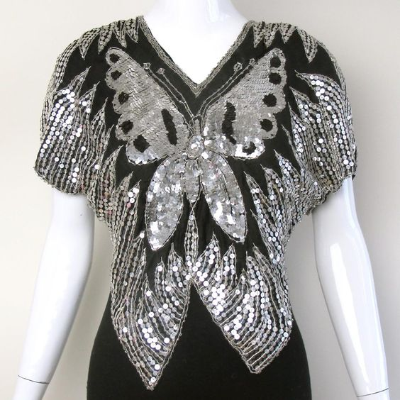 1980s Sequin Butterfly Top