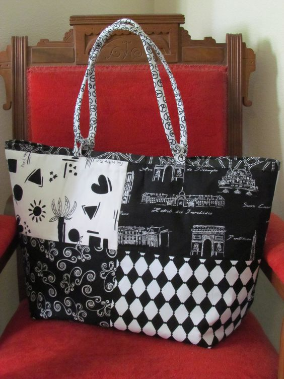 Elegant Black and White Tote - LARGE. $50.00, via Etsy.
