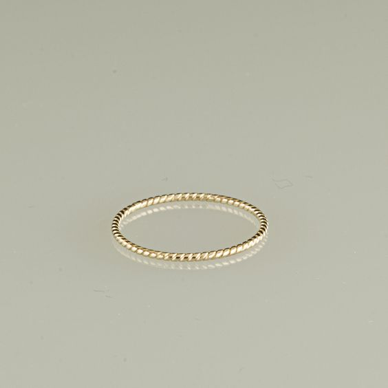 10kt twisted stacking ring in white rose or by TheLoveKnotShop